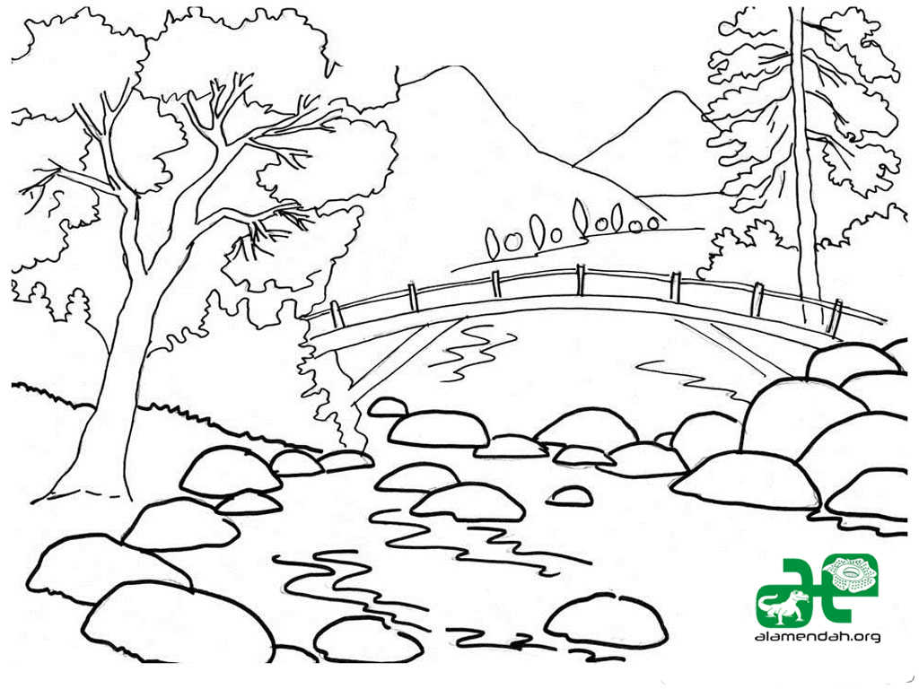 Gambar Sketsa Lukisan Gunung