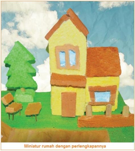 Gambar dari rumah dengan tanaman, manik-manik, jalan, dan tanaman
