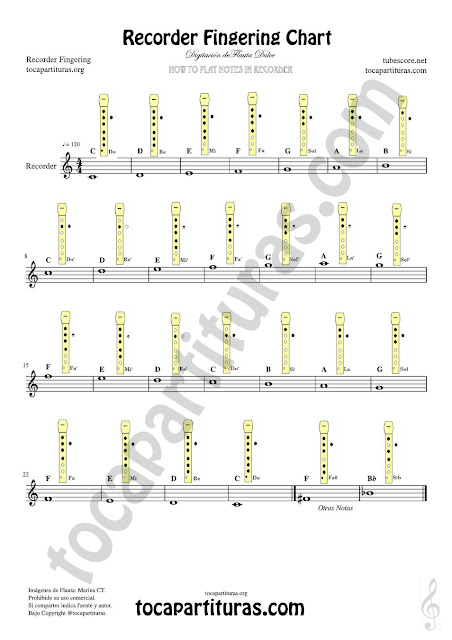 English Easy Notes Fingering Chart for Recorder Sheet Music for teachers of music, school of music, conservatory and beginners