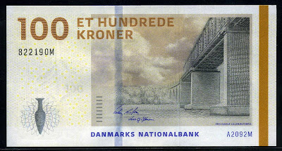 World money Denmark banknotes100 Danish Krone, Bridge series