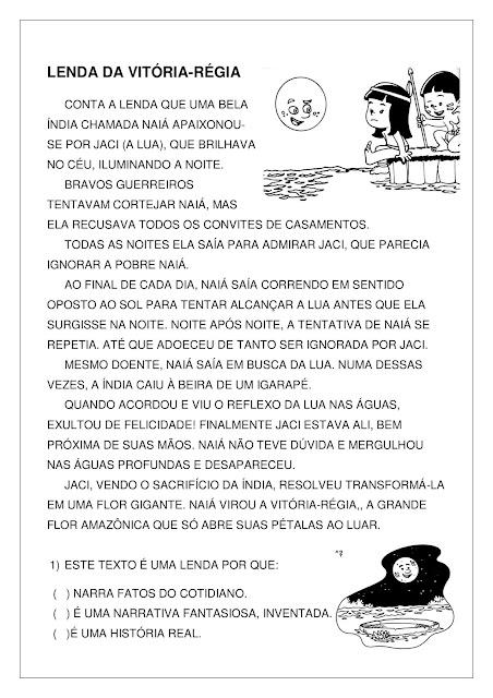 Atividade sobre Lenda da Vitória-Régia em PDF Grátis
