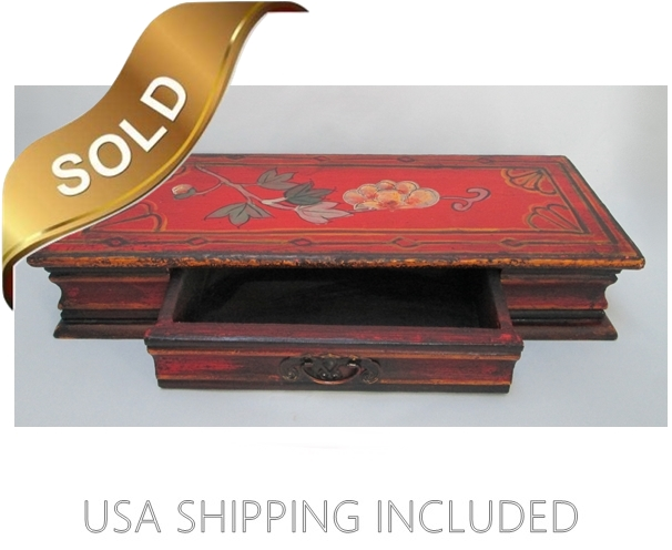 Hand Painted Asian Wooden Box With One Drawer