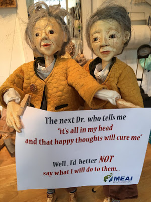 Reflection Puppets getting ready for ME Protest in Dublin. Photo reproduced in Evening Echo article by Corina Duyn