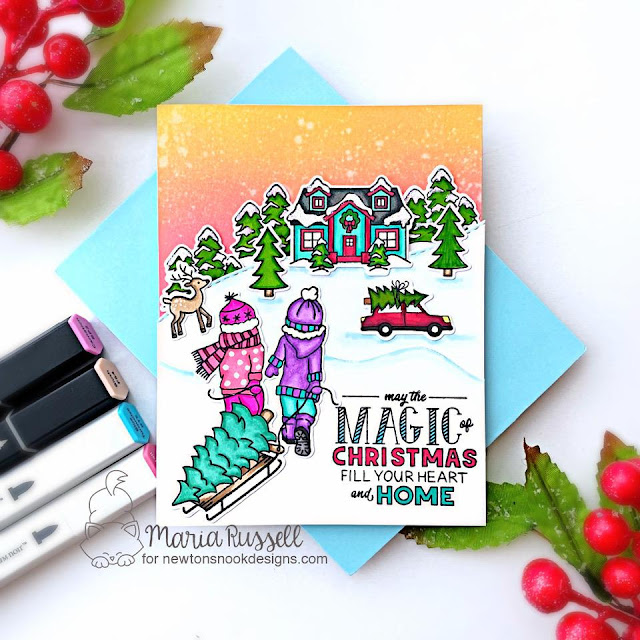 Magic of Christmas Card by Maria Russell | Holiday Home Stamp Set, Land Borders Die Set and Snow Globe Scenes Die Set by Newton's Nook Designs