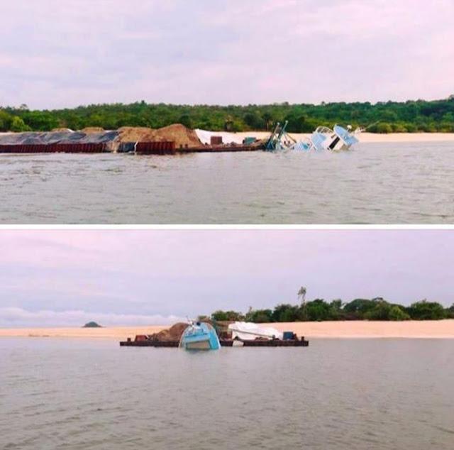 Embarcação carregada com areia naufraga na praia de Muretá, em Santarém