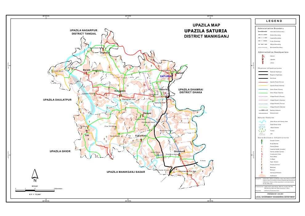 Saturia Upazila Map Manikganj  District Bangladesh