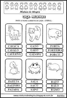 Caça-palavras com nome de animais