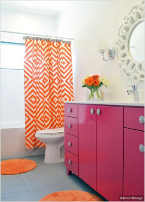 Bathroom redesigned style warm Chevron style
