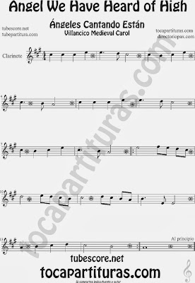 Partitura de para Clarinete Canción de Navidad Carol Song for Christmas Sheet Music for Clarinet Music Scores