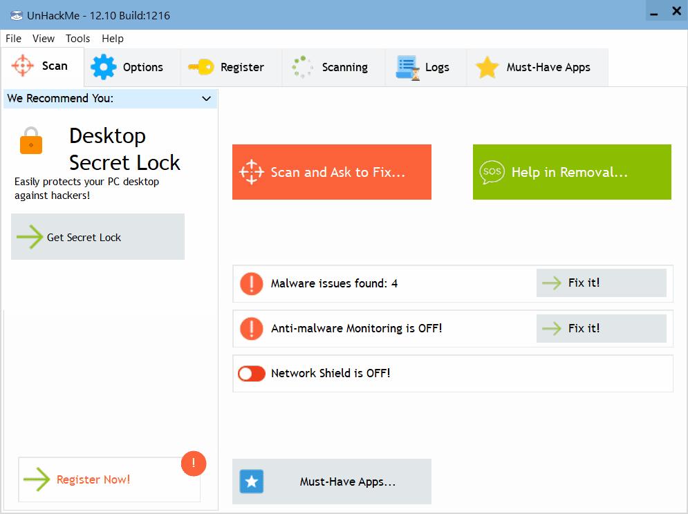 UnHackMe Main Interface Screenshot