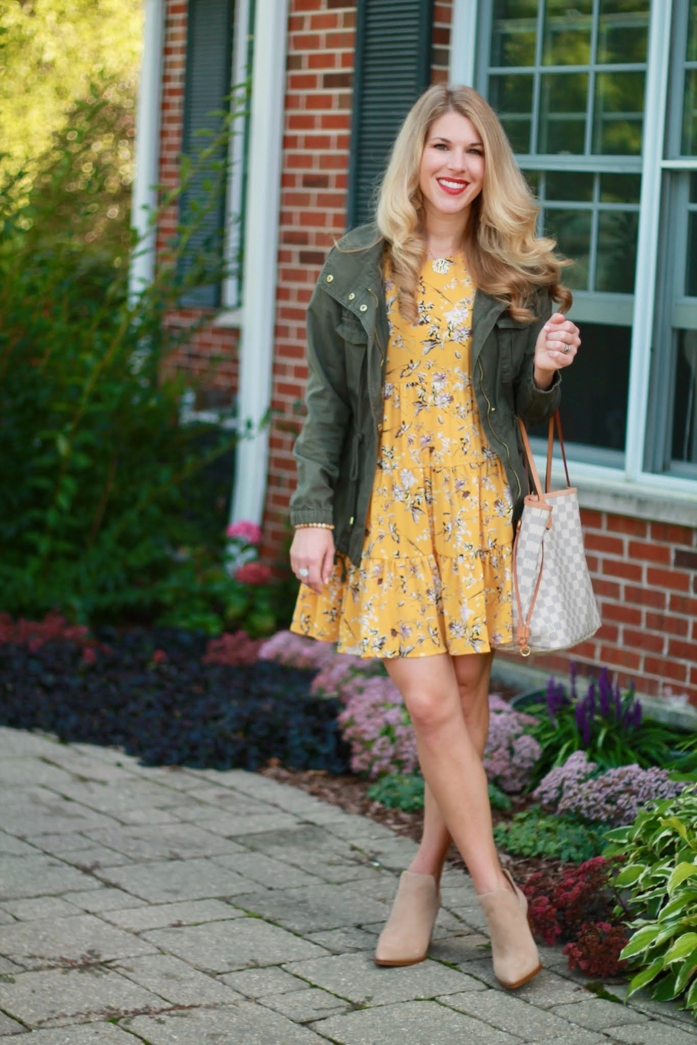 fall dress outfit, yellow floral dress, green cargo jacket, taupe booties