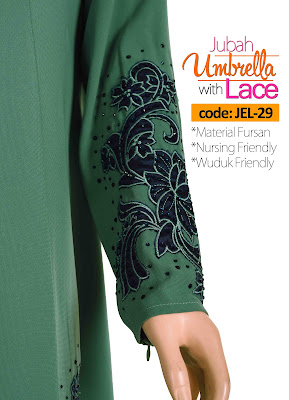 Jubah Umbrella Lace JEL-29 Sea Green Tangan 3