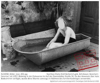 Bensheimer Häuser - damals und heute - Die Zinkbadewanne als Badezimmer. Aufgrund eines fehlenden Badezimmers wurde eine Zinkbadewanne mit Wasser aus der Waschküche entweder im Hof oder Waschküche am Badetag - meist samstags - gefüllt und von der ganzen Familie genutzt.