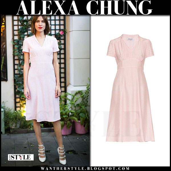 Alexa Chung in pink gingham dress hvn what she wore