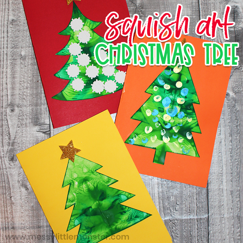 squish painting Christmas tree craft for kids