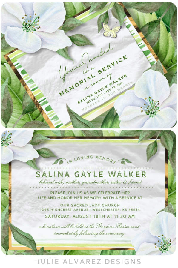 white floral garden memorial invitation custom front and back