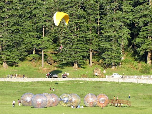 Zorbing and paragliding in Khajjiar