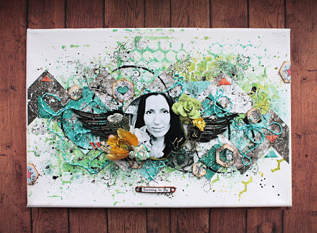@marinasyskova #scrap #scrapbooking #7dotsstudio #canvas #mixedmedia