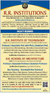 Bangalore, R.R.Institute of Technology Professor, Assistant Professor Faculty Jobs 2020