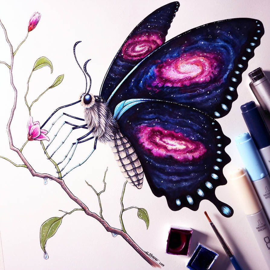 07-Galaxy-Butterfly-C-Straver-Fantasy-Movie-Characters-Drawings-www-designstack-co