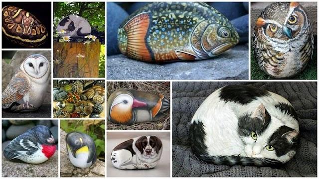 50+ Καλλιτεχνικές Δημιουργίες Ζωγραφικής σε Βότσαλα με μορφές Ζώων