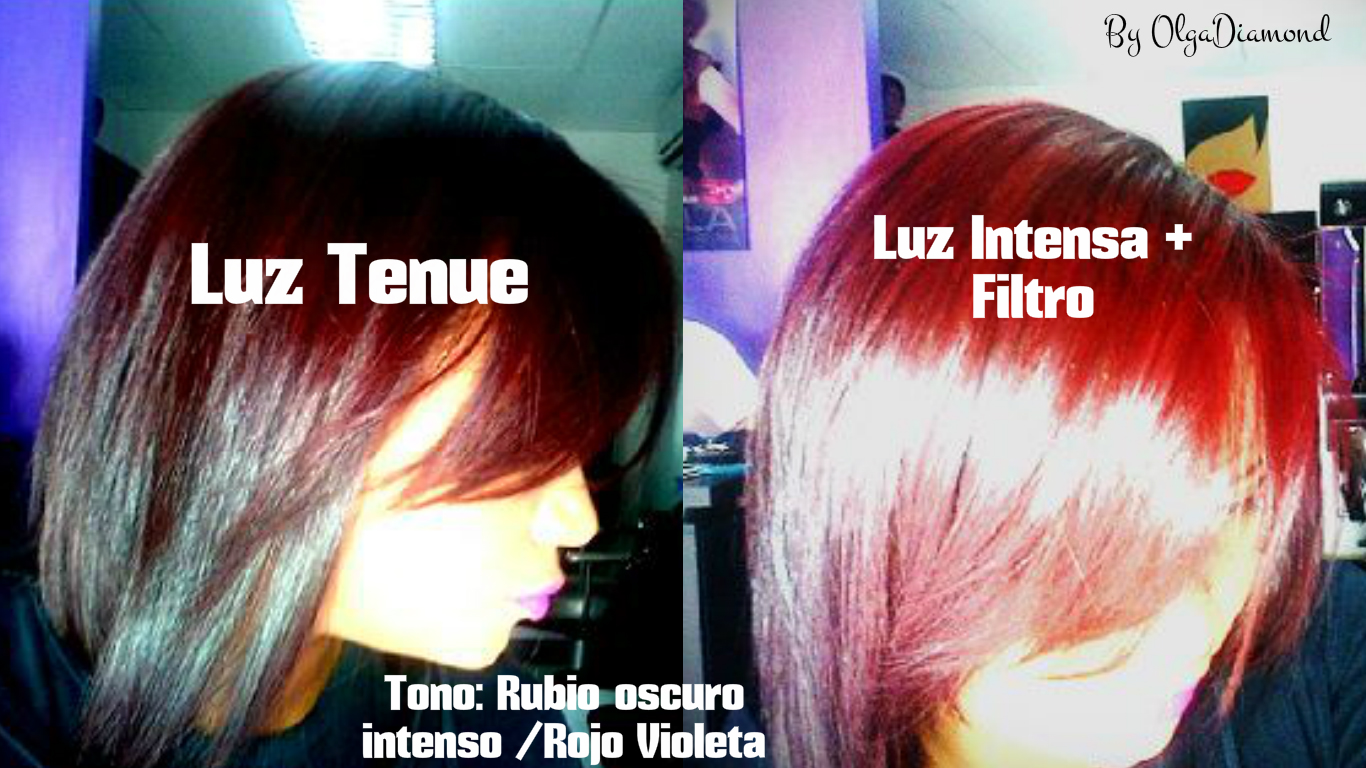 Color de cabello con luz directa y artificial