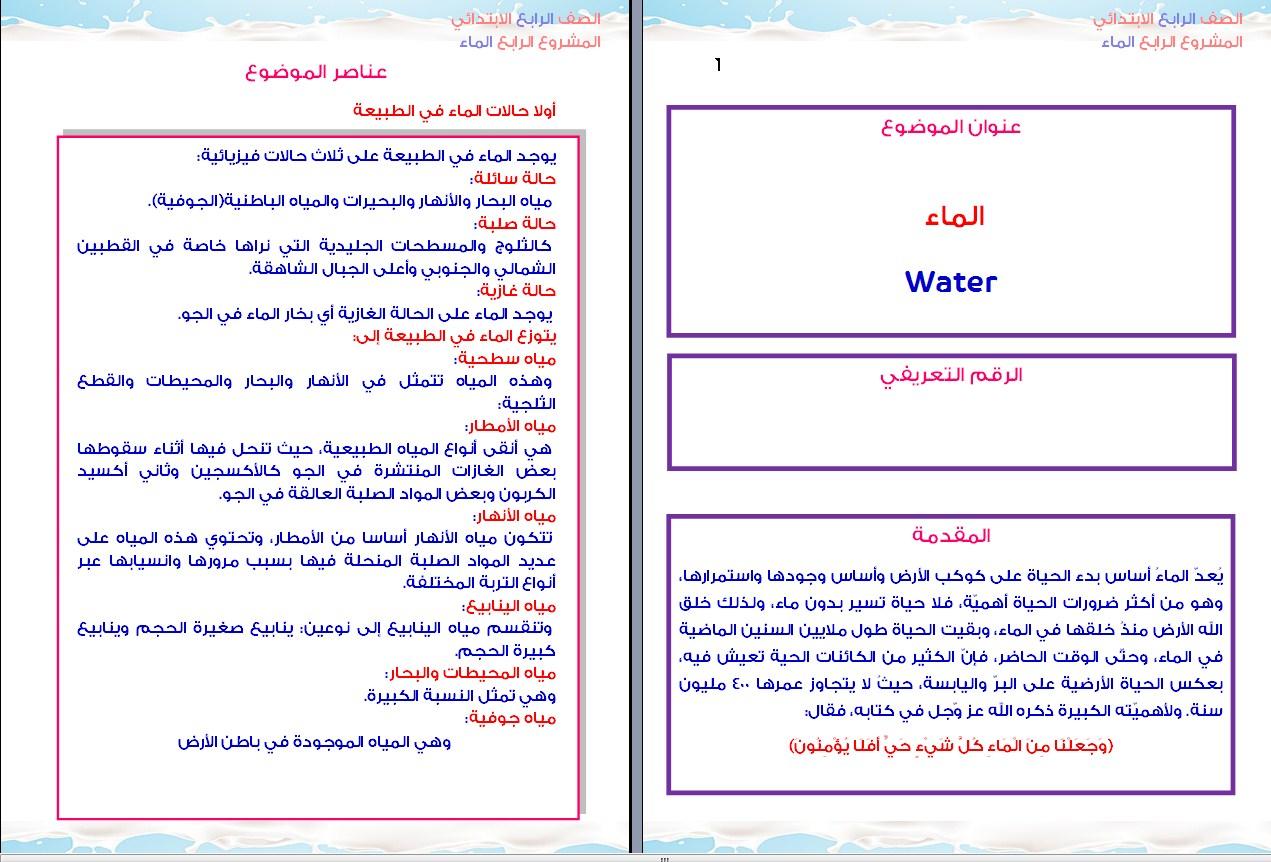 مشروع بحث عن الماء للصف الرابع الابتدائى