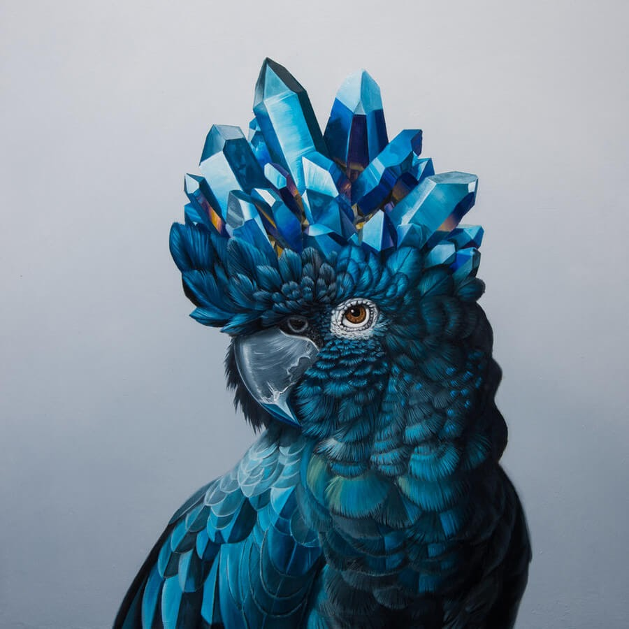 11-Parrot-and-Precious-Stones-Jon-Ching-Animal-Oil-Paintings-www-designstack-co