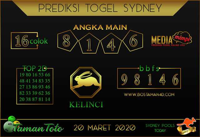 Prediksi Togel SYDNEY TAMAN TOTO 20 MARET 2020