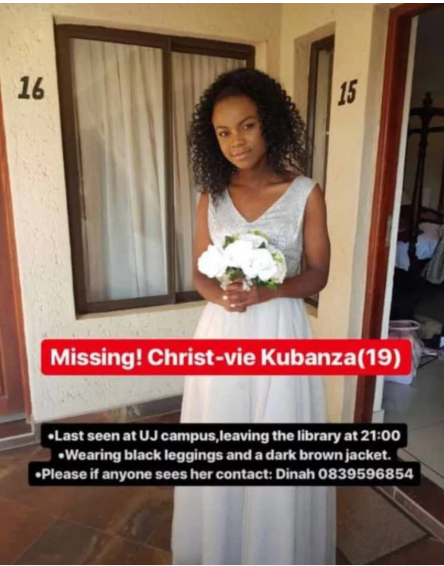 Missing UJ student Christ-vie Kubanza sought, bus pass and student card found
