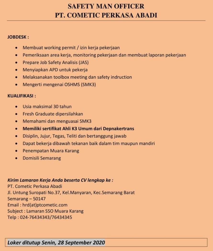 PT Cometic Perkasa Abadi Semarang Membuka Lowongan Kerja Sebagai Safety Man Officer