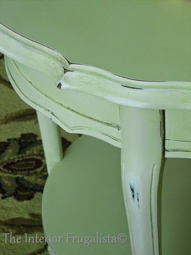 French Provincial Side Table distressed and antiqued.