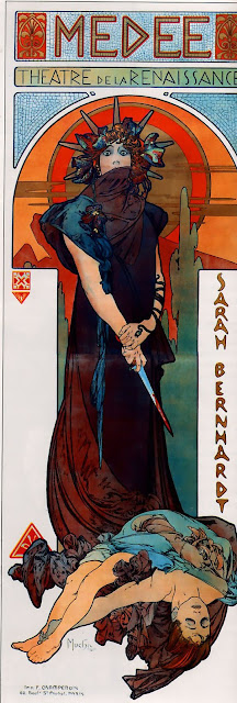 Medea with a bloody dagger. Perhaps she wielded it in high dudgeon. By Alphonse Mucha - Art Renewal Center – description, Public Domain, https://commons.wikimedia.org/w/index.php?curid=8879553