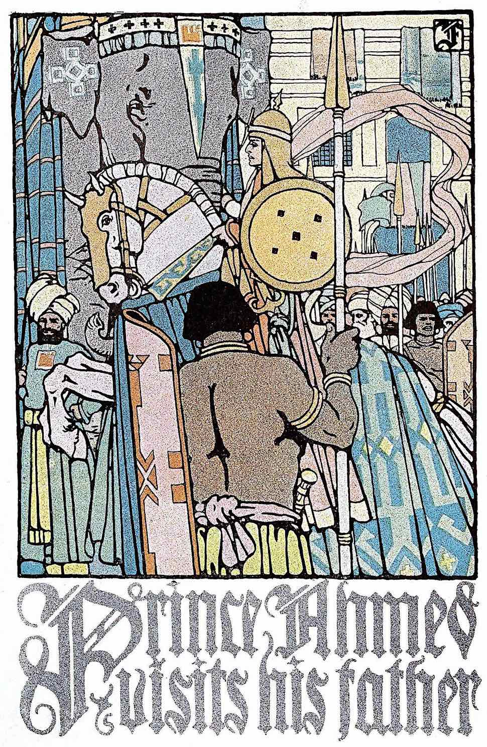 a C.B. Falls 1930 book illustration, Prince Ahmed visits his father