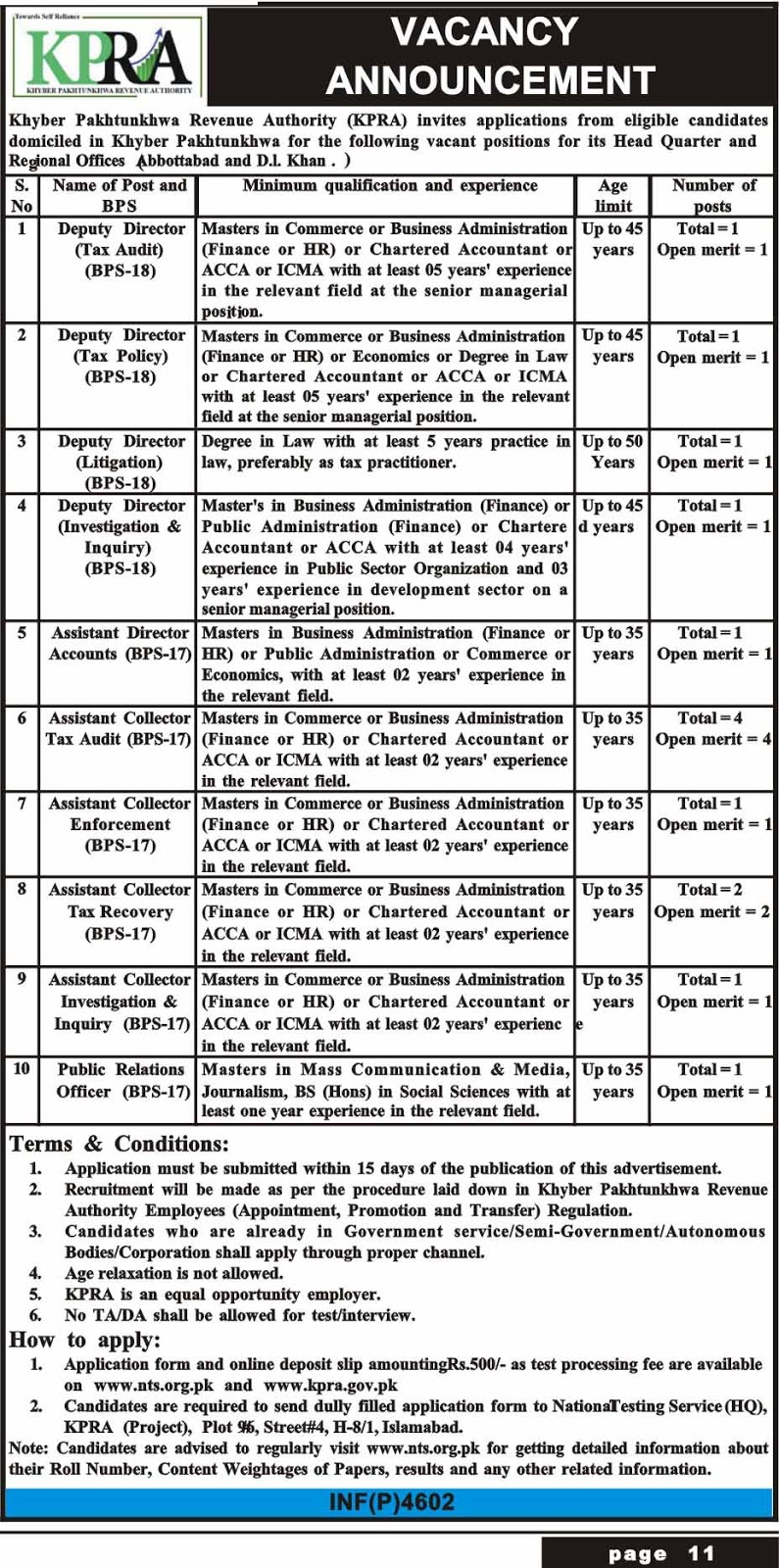 Advertisement for Khyber Pakhtunkhwa Revenue Authority Jobs