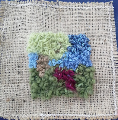 Small rug hooked landscape