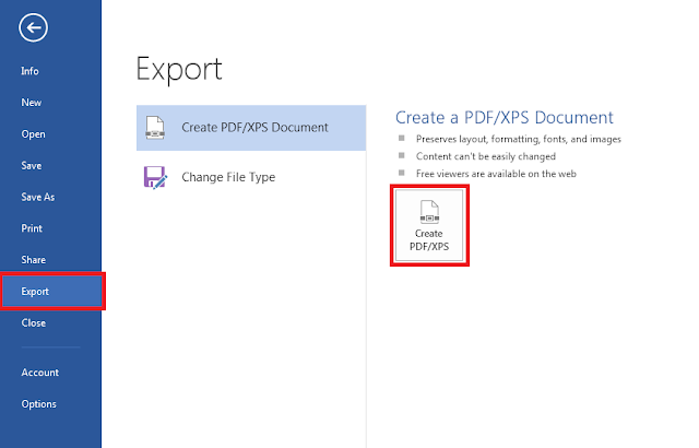 Select Export option and Create PDF/XPS button