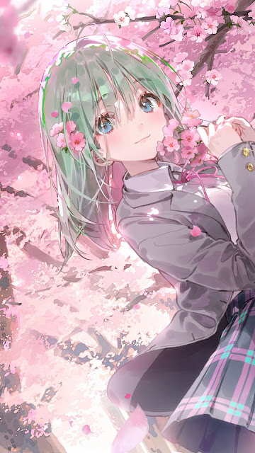 Schoolgirl, blue eyes, Sakura tree, pink flowers, Anime