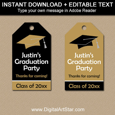 Graduation Tags in Black and Gold with Editable Text