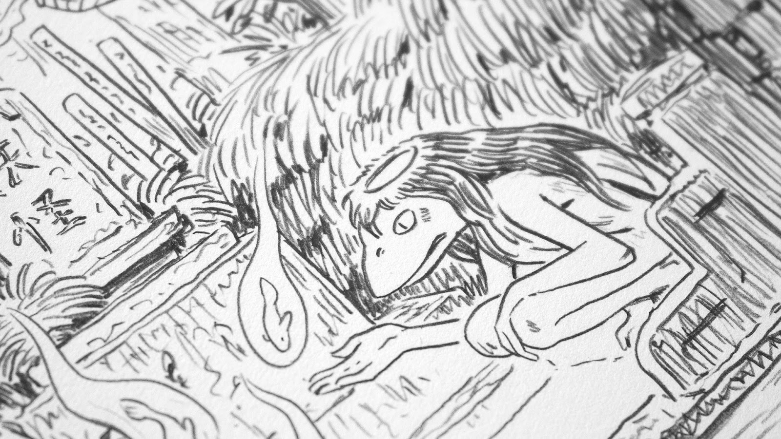 pencils of a detail from the yokai gathering illustration