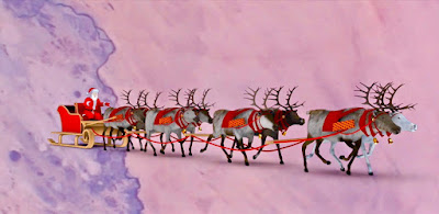Santa Claus and flying reindeers in Space Heading to Earth 2018