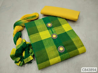 Pretty Handloom Cotton Chceks Print With Button Un-stitched Dress Materials