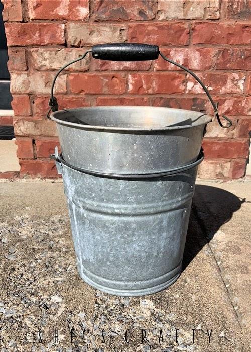 vintage galvanized buckets.