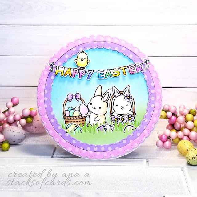Sunny Studio Stamps: Chubby Bunny Fancy Frames Customer Card Share by Ana A