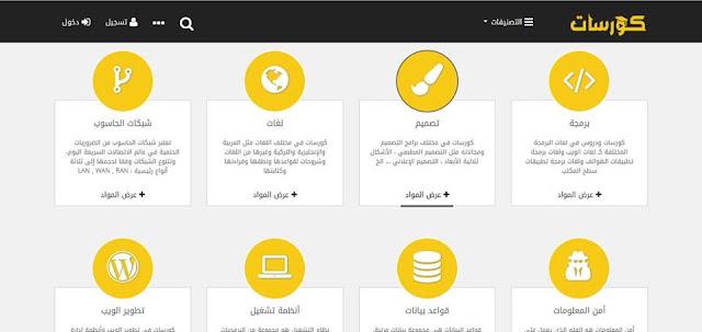 موقع رائع جداً يحتوي على مجموعة مميزة من الكورسات المجانية في عدة مجالات  التصميم , برمجة , لغات , شبكات الحاسوب أمن المعلومات, قواعد بيانات , أنظمة تشغيل , تطويرالويب , الإدارة ,العلوم الرياضيات