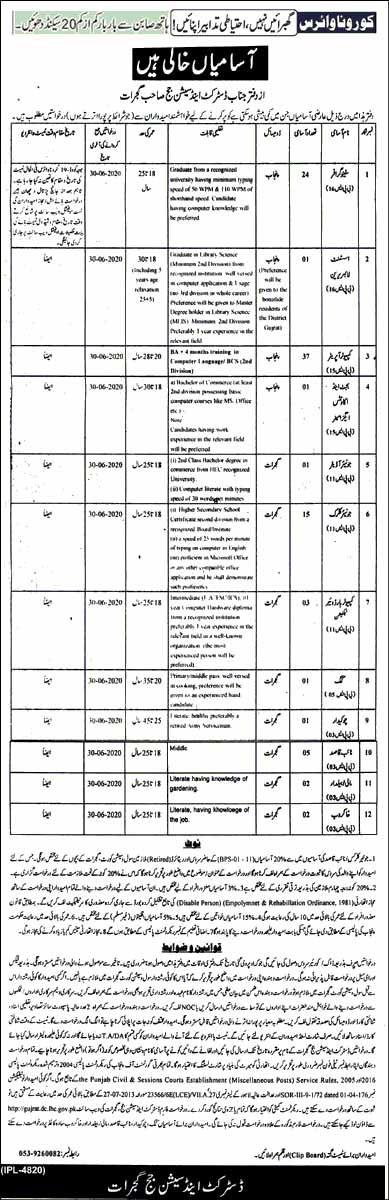 Government Jobs in Office of District & Session Judge Gujrat 2020
