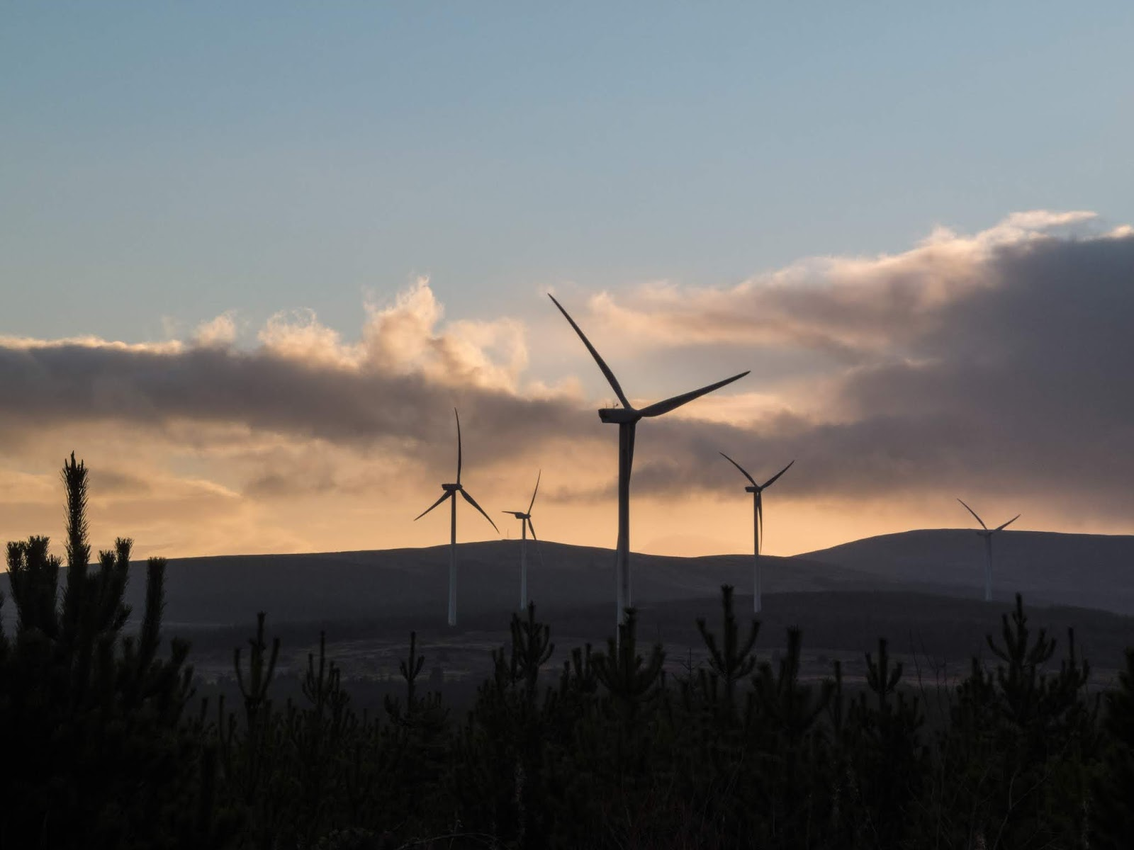 Wind turbines in the Boggeragh Mountains at sunset.