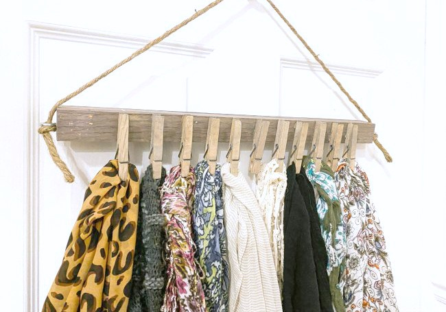 Easy and Inexpensive Hanging Scarf Organizer