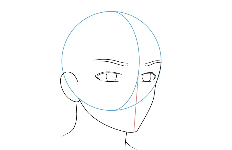 Anime laki-laki wajah 3/4 tampilan alis menggambar