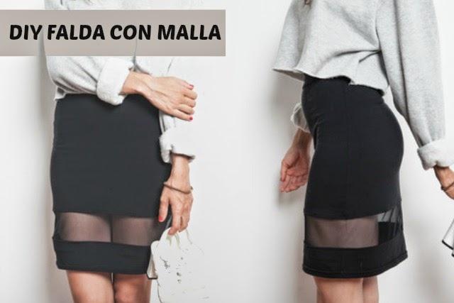 Falda transformada con Malla Diy Reciclando Vestuario